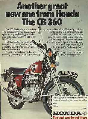 One Only Honda Cb360 Ad/poster Hrc Ko