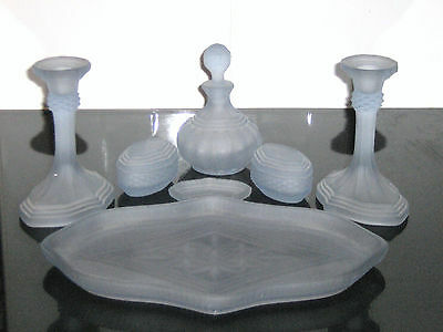 Beautiful Vintage Art Deco Dove Blue Frosted Glass Dressing Table Set
