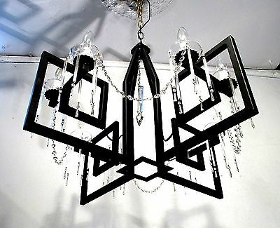 Vintage Chandelier Mid Century Modern Black Iron Crystals restored rewired