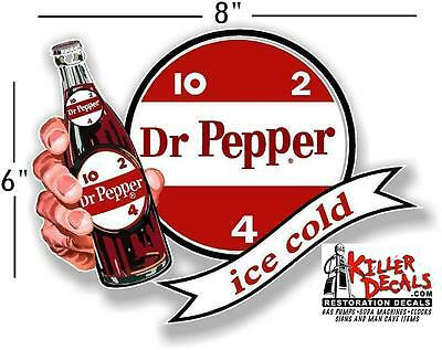 """(DP-107) 8"""" DR PEPPER 10 2 4 ICE COLD BOTTLE IN HAND COOLER POP soda decal"""