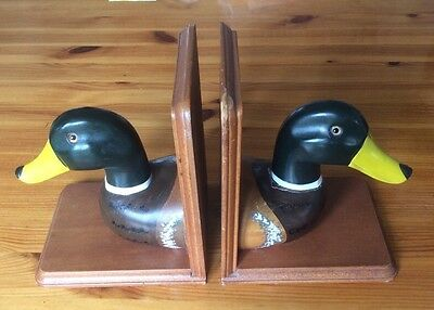 Pair of Wooden Ducks Book Ends / Stands