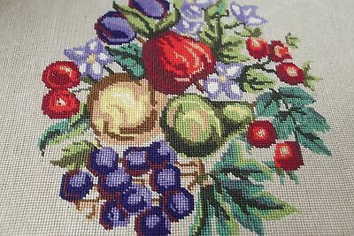 """vtg antique fruit needlepoint wall hang picture art 15"""" x 20"""" Canvas Only MINT"""