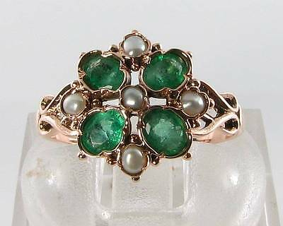 Lush 9K 9Ct Rose Gold Colombian Emerald & Pearl Art Deco 4 Leaf Clover Ins Ring