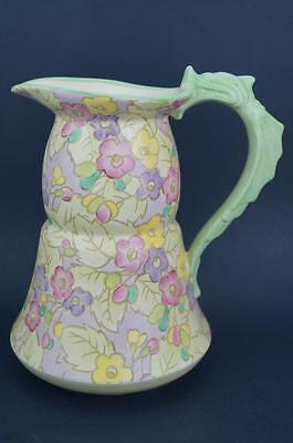 Rare ART DECO Chintz ROYAL WINTON Large 3 Pint WaterJug/Pitcher DOLPHIN HANDLE