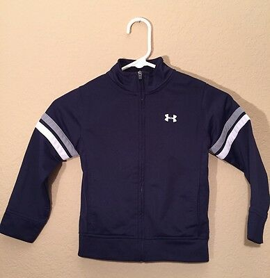 UNDER ARMOUR Toddler Boy Zip Up Navy Blue Jacket Size 4T Good Condition