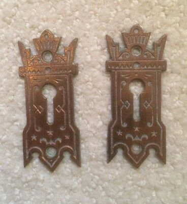 Antique Brass Keyhole Covers (2)