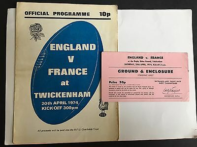 RARE ENGLAND v FRANCE CHARITY INTERNATIONAL RUGBY UNION PROGRAMME + T 20/04/1974