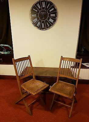 Vintage Industrial  Wooden Folding Cafe Bar Kitchen Chairs 2