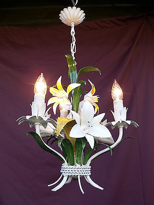@ Lovely Vintage  French Tole Chandelier Decorated With Flowers _ Superbe !!