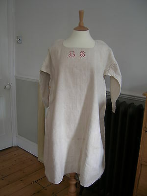 Monogrammed Antique French Linen Farmers Smock/Chemise/Shirt Dress