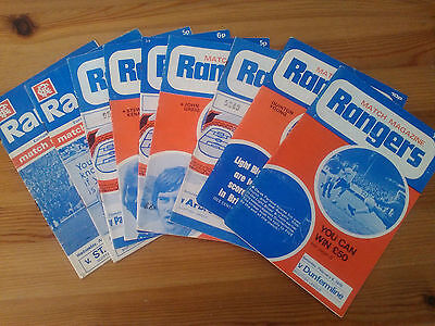 Lot of 9 Rangers Home Football programmes 1970's