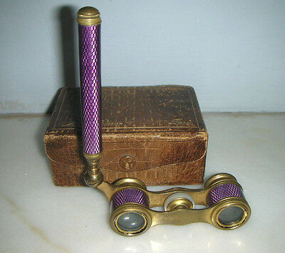 Pair Of Antique French Gilt & Purple Guilloche Opera Glasses By Monna Vanna