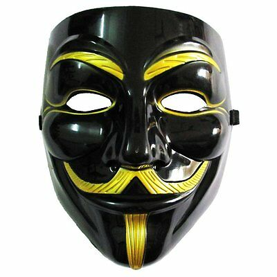 Black and Gold Anonymous V For Vendetta Costume Mask Collectors Proper