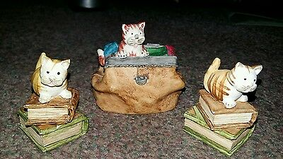 Peter Fagan Set of 3 collectable handpainted cats - 'Bookworm' &
