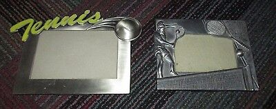 """Lot Of 2 Silver Plated / Metal Tennis Theme Table Top Photo Frame, 4"""" X 6"""", Guc"""