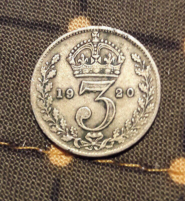 King George V 1920 three pence coin used good condition 3d
