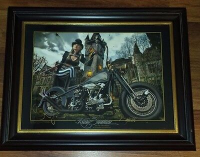 David Uhl/Kristy Swanson Steampunk Harley Print MINT signed by both Artist's