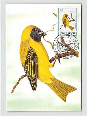 S. TOME MK 1983 VÖGEL SCHWARZSTIRNWEBER BIRDS CARTE MAXIMUM CARD MC CM m286/