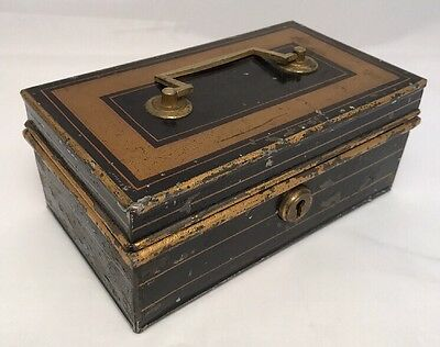 Old Vintage Antique Collectable Money Tin With Lock And Key, Keep Safe Box