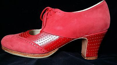 Flamenco Shoes Professionals brand new Red suede and leather size 39
