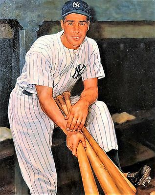 Great Joe Dimaggio 13X19 Print On Textured Canvas