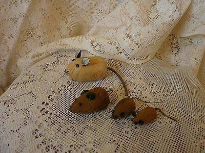 Small Ornamental Wooden Mice Collection