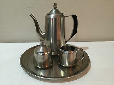 Oneida 18/8 Stainless 5 Piece Coffee Set Pot,Sugar with Lid,Creamer,Tray Modern