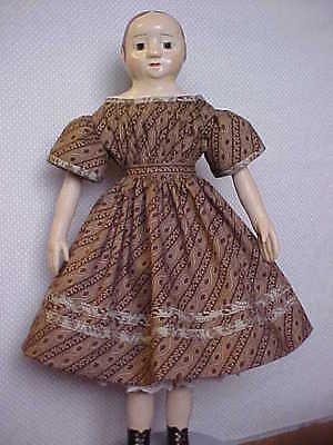 "Antique Repro Brown/Tan Dress For 16-18"" Paper Mache, China, Izannah Walker"
