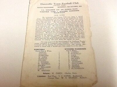 Dunstable Town v Wycombe Wanderers programme. 24/10/1970
