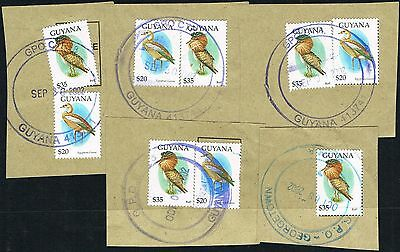 Guyana 1995. Birds/Ruff/Egyption Goose $20/$35. 5 used items on piece.