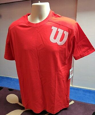Wilson Tennis Red Angled W Cotton T-shirt, Large - BNWT