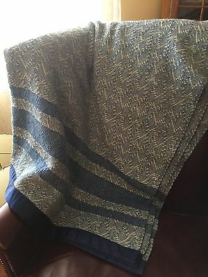 Vintage Kenwood Wool Blanket Twin Blue White Mint Condition