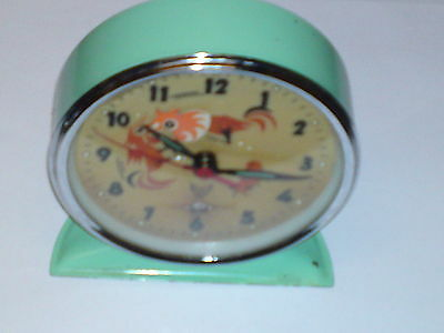 Rare Vintage1960s Rooster & Hen Animated Alarm Clock