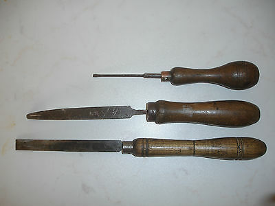 Vintage Collection Of A Screwdriver, Scrape & Chisel. All With Wooden Handles.
