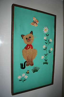 Vintage Original Handcrafted Cat Textile Art with Butterfly Flowers Framed 1972