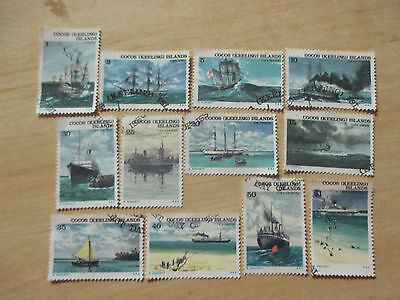 1976  -COCOS   ISLAND -ship  series  complete  set  of  12  stamps  used   --A1