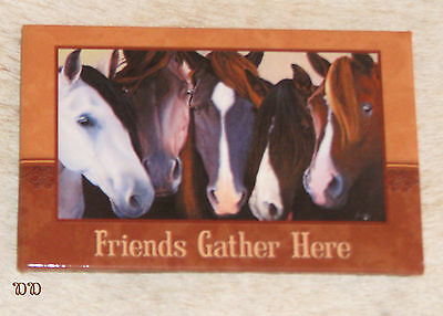 "LEANIN TREE ""Friends Gather Here"" Group of Horses Refrigerator Magnet #67151"