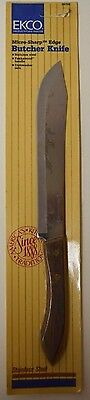 EKCO Micro-Sharp Vintage Butcher Knife Stainless Steel Wood Handle New Old Stock