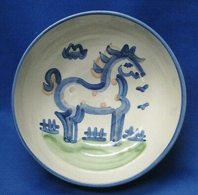 "M. A. Hadley Signed Stoneware Pottery 8"" Serving Bowl Country Scene ""HORSE"""