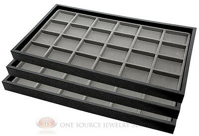 (3) Black Plastic Stackable Trays w/24 Compartment Gray Jewelry Display Inserts