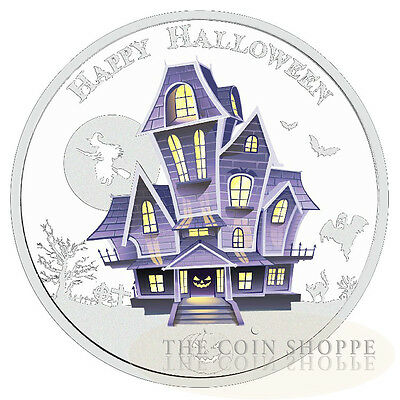 THE HAUNTED HOUSE - HALLOWEEN - GLOW IN THE DARK - 2016 1 oz Pure Silver Coin