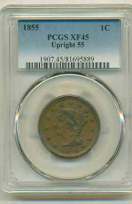 Pcgs Xf-45 1855 Large Cent Upright 55
