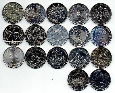 17 different UK five pound £5 coins 1990 - 2012