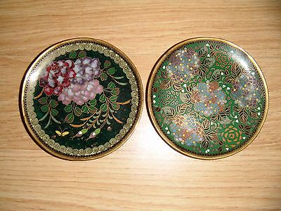 Two Pretty Little Cloisonne Pin Dishes ~ 7.5 cms Diameter