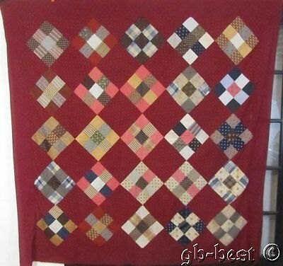 Cranberry Rich! 1880s PA Nine Patch Antique QUILT Top Brown Madders
