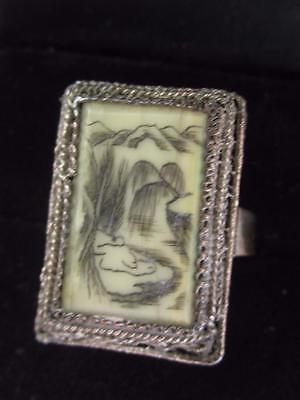 Vintage Chinese Export Silver Pl & Carved Bone Scrimshaw Filigree  Adj Ring