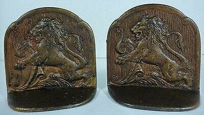 Antique Cast Iron Majestic Lions Bookends ornate high relief old decorative art