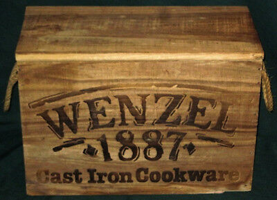 *Vintage Empty Wenzel Cast Iron Cookware 1887 Rustic Wood Crate*Wooden Box*Rope*