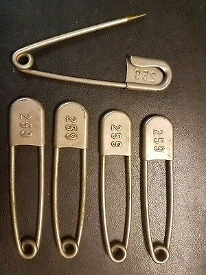 Set of 5 Vintage Large Metal Laundry Safety Pins all Numbered 259