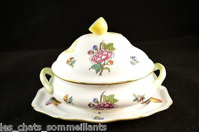 HEREND,QUEEN VICTORIA, MINI TUREEN w/ LEMON & UNDERPLATE, FLAWLESS, RETAIL $330
